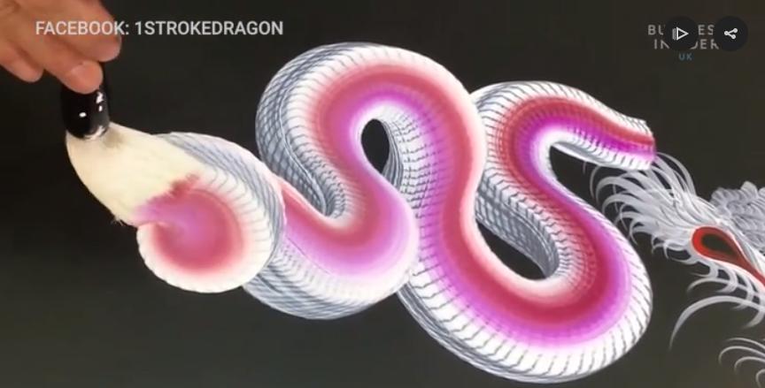 Як японський художник малює драконів одним доторком (Відео)