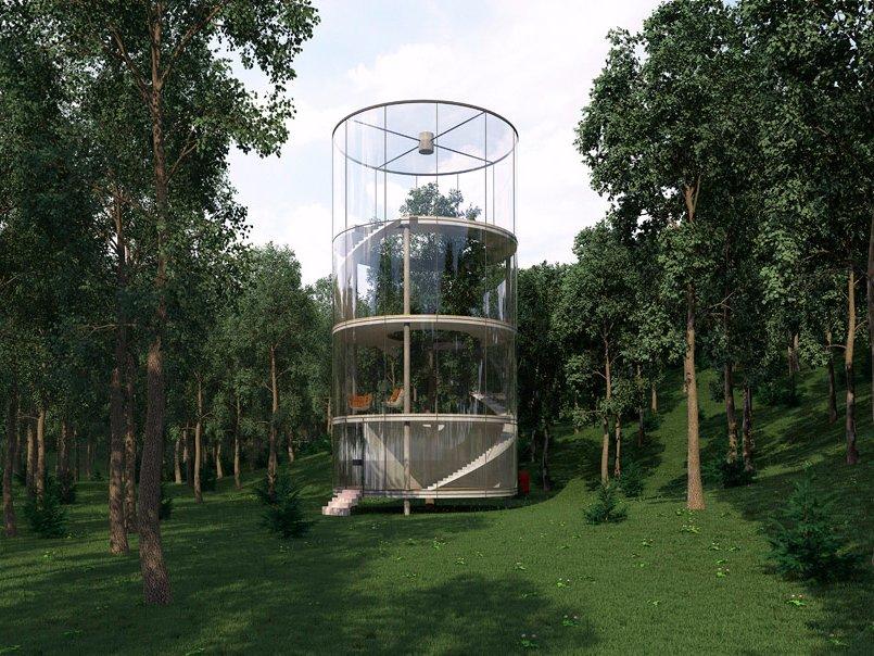Казахи вміють дивувати: скляний будинок-тубус у лісі (Фото)