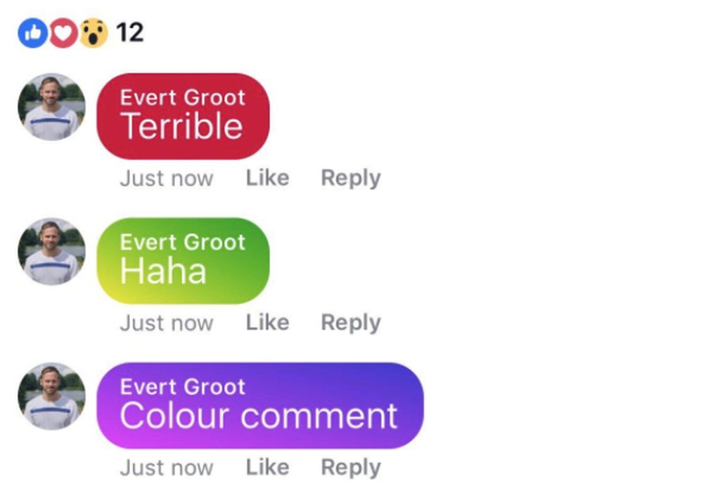 Facebook тестує різнокольорові градієнтні коментарі