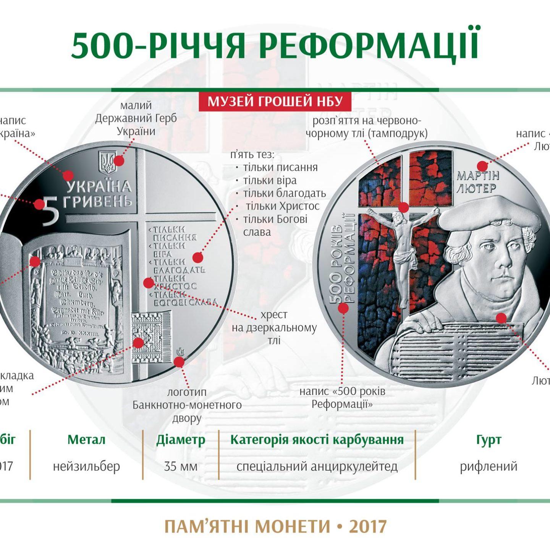"""НБУ порадував дизайном нової монети """"500-річчяРеформаціїˮ (Фото)"""
