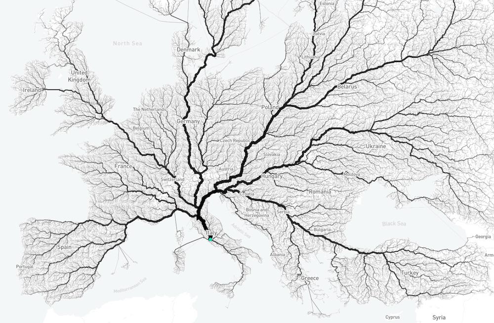 УНІКАЛЬНА інфографіка: всі дороги таки ведуть до Риму!