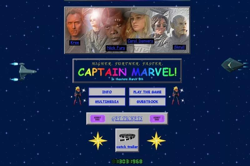 """Промо у стилі веб-90-х для просування фільму Captain Marvel (""""Капітан Марвел"""")"""