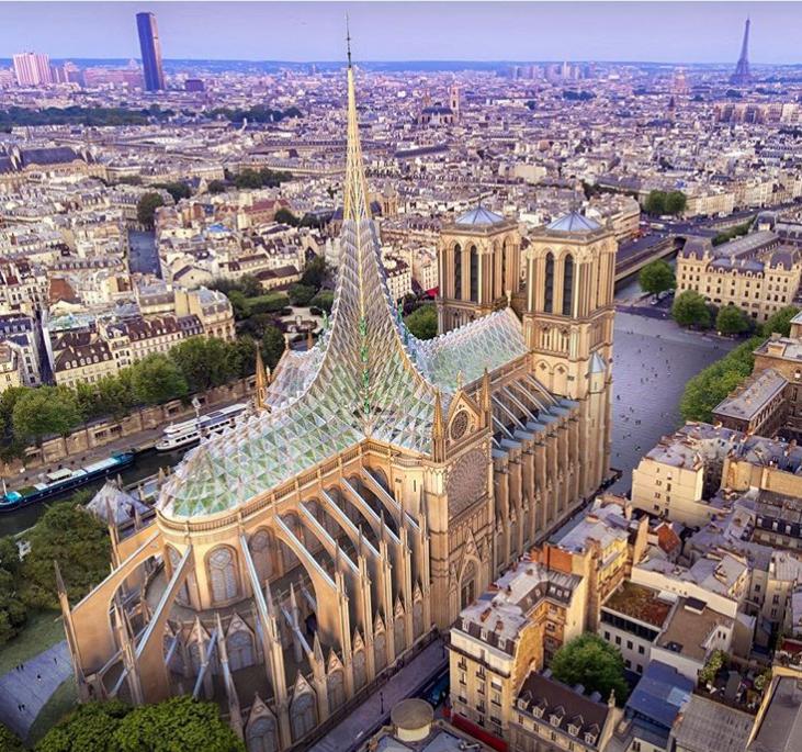 Дизайн тижня: Архітектор пропонує накрити Собор Паризької Богоматері прозорим куполом із… городом! (ФОТО)