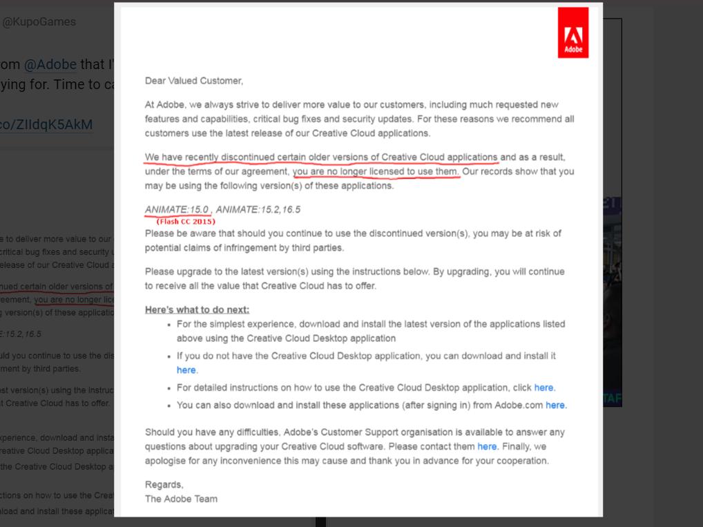 """Adobe заборонила використовувати старі версії Photoshop і Premiere Pro – у """"листах щастя"""""""